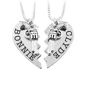 Jewelry - Silver colored his & her Bonnie & Clyde Necklace